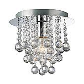 Modern 1 Bulb Chrome Ceiling Light with Clear Acrylic Balls and Beads