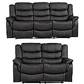 Sofa Collection Victoria 3+2 Recliner Sofa Set- Black