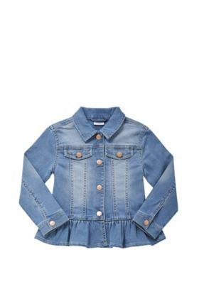 F&F Frill Hem Denim Jacket Denim Blue 12-18 months