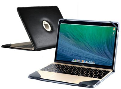 Black Faux Leather Case Cover For The Apple Macbook 2015 12