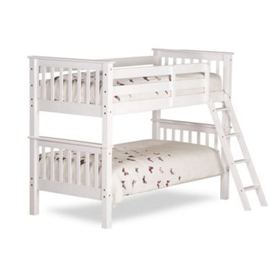 Happy Beds Oxford Wood Kids Bunk Bed with Memory Foam Mattress - White - 3ft Single