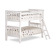 Happy Beds Oxford White Wooden Bunk Bed 2 Memory Foam Mattresses 3ft Single