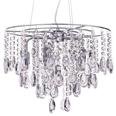 Litecraft Waterford Oberon 6 Bulb LED Bathroom Ceiling Pendant, Chrome