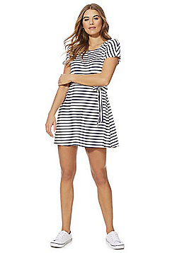 F&F Striped Tie Waist Jersey Dress - White/Navy
