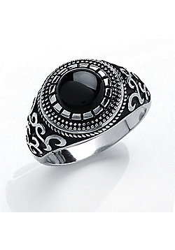 Men's Rhodium Plated Sterling Silver Black Round Onyx Signet Ring