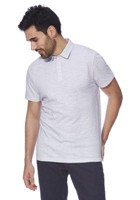F&F Geometric Print Polo Shirt Blue 4XL