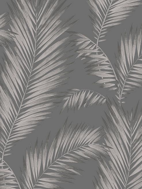 Precious Metals Ardita Leaves Wallpaper - Gunmetal - Arthouse 673001