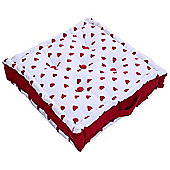 Homescapes Cotton Red Hearts Floor Cushion, 50 x 50 cm