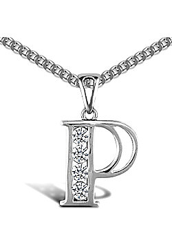Sterling Silver Cubic Zirconia Identity Pendant - Initial P - 18inch Chain