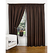 Hamilton McBride Canvas Unlined Pencil Pleat Curtains - Chocolate