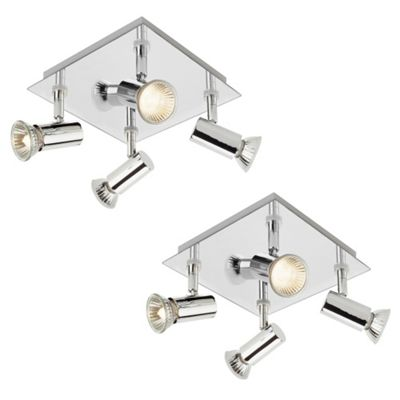 Pair of Square Four Way Ceiling Spotlights, Chrome