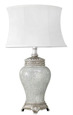 Silver Sparkle Mosaic Small Antique Silver Regency Lamp With Silver Trimmed White Shade