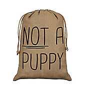 Not A Puppy Hessian Santa Sack 40x55cm, Brown