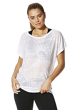 F&F Active Pineapple Pattern Burnout T-Shirt - White