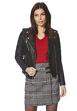 F&F Faux Leather Biker Jacket - Black
