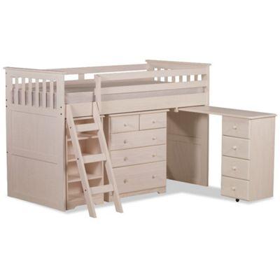 Happy Beds Ultimate Wood Kids Midsleeper Desk Storage Bed with Memory Foam Mattress - Waxed Pine - 3ft Single