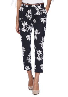 F&F Floral Slim Leg Trousers with Belt Navy 6