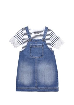 F&F Denim Pinafore Dress and Striped T-Shirt Set Blue 5-6 years