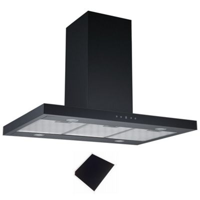 Cookology IDLINT901BK Touch Control 90cm Black Linear Island Chimney Cooker Hood & recirculating carbon filter
