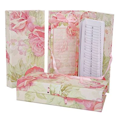 Message - Flower Notebook And Address Book With Holder - Pink