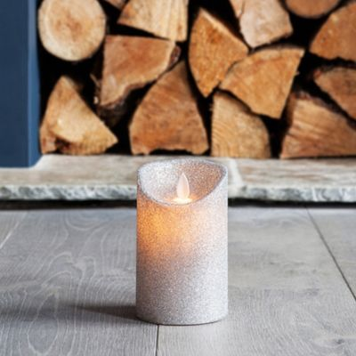 Small Silver Glitter Battery LED Dancing Flame Candle