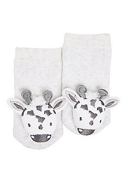 F&F Giraffe Rattle Socks with Gift Bag - Grey