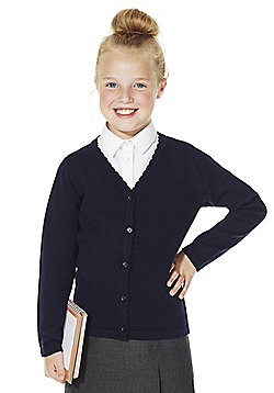 F&F School Girls Scallop Trim Cardigan with As New Technology - Navy