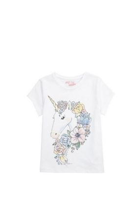 F&F Floral Unicorn T-Shirt White 9-10 years