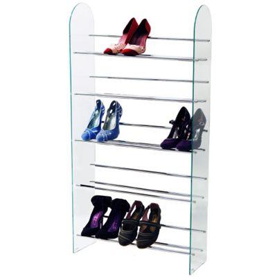 Luxor - 5 Tier 15 Pair Shoe Storage Shelf Rack - Glass / Chrome