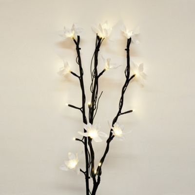 Battery Operated LED Twigs, Black & White Flowers