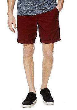 F&F Turn-Up Chino Shorts - Burgundy