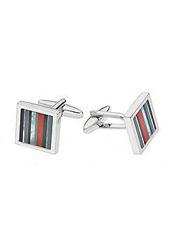 Rhodium-plated Onyx, Mother of Pearl, Haematite & Red Crystal Stripe Cufflink