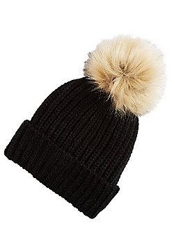 F&F Ribbed Knit Faux Fur Bobble Hat - Black