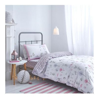 Bianca Cotton Soft Nordic Pink Print Duvet Cover Set - Single