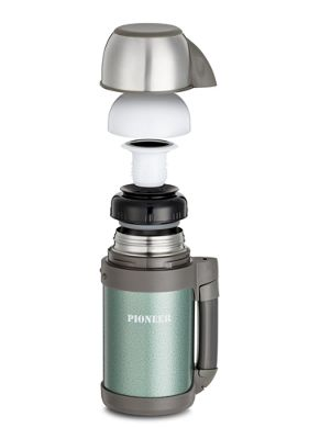 Grunwerg Pioneer Stainless Steel Vacuum Flask Thermos Mug with Strap, Green 1 Litre
