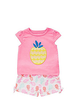 F&F Pineapple T-Shirt and Shorts Set - Pink & White