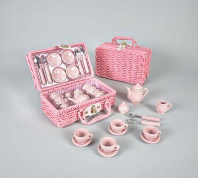 Floss & Rock Spotty Tea Set In Basket (17pcs)