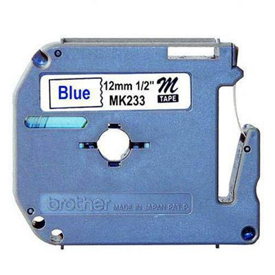 Brother MK233 Non Laminated Tape (Blue on White)