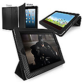 Orzly Tri-Fold Case for Apple iPad 2, 3, 4 - Carbon Fibre Black