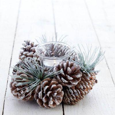 Silver Glittered Cone Tea Light Holder