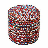 Homescapes Red and Multi-Colour Chindi Design Circular Bean Filled Pouffe