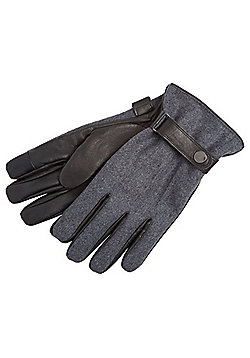 F&F Felt and Leather Touch Screen Gloves - Grey
