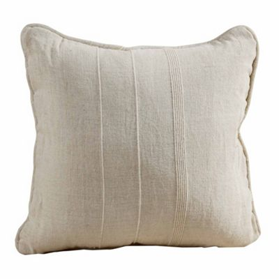 Homescapes Cotton Rajput Ribbed Natural Cushion Cover, 60 x 60 cm