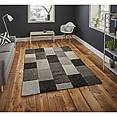 Brooklyn Hand Carved Squares Rug - Black