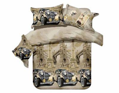Classic Car Paris Eiffel Tower London Bridge Half Set Bedding Single Duvet Cover