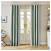 Basketweave Lined Eyelet Curtains,  (66 x 54'') - Duck egg