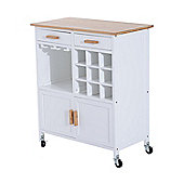 Homcom Rolling Kitchen Cart Storage Cabinet Trolley Wood Drawers on Wheels w/ Wine Racks
