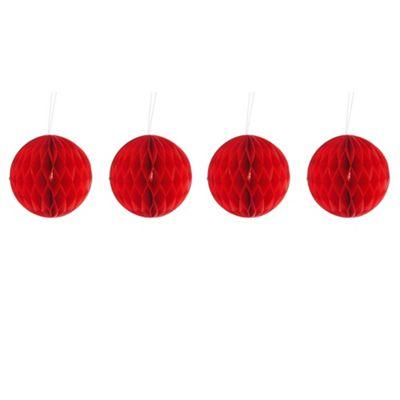 Pack of Four Red 10cm Honeycomb Retro Pom Pom Decorations