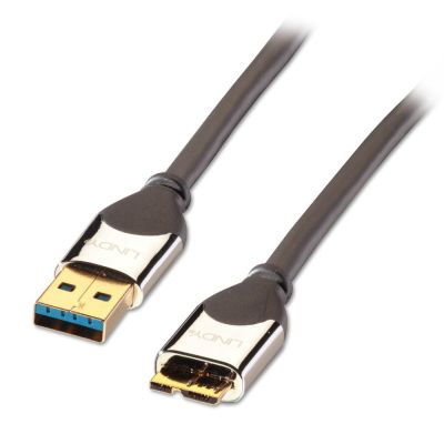 LINDY 41618 1m CROMO USB 3.0 Type A Male to Micro-B Cable