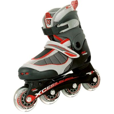 Xcess MX S1000 Semi Soft Adjustable Inline Skates - Red - Small (junior 9-11)